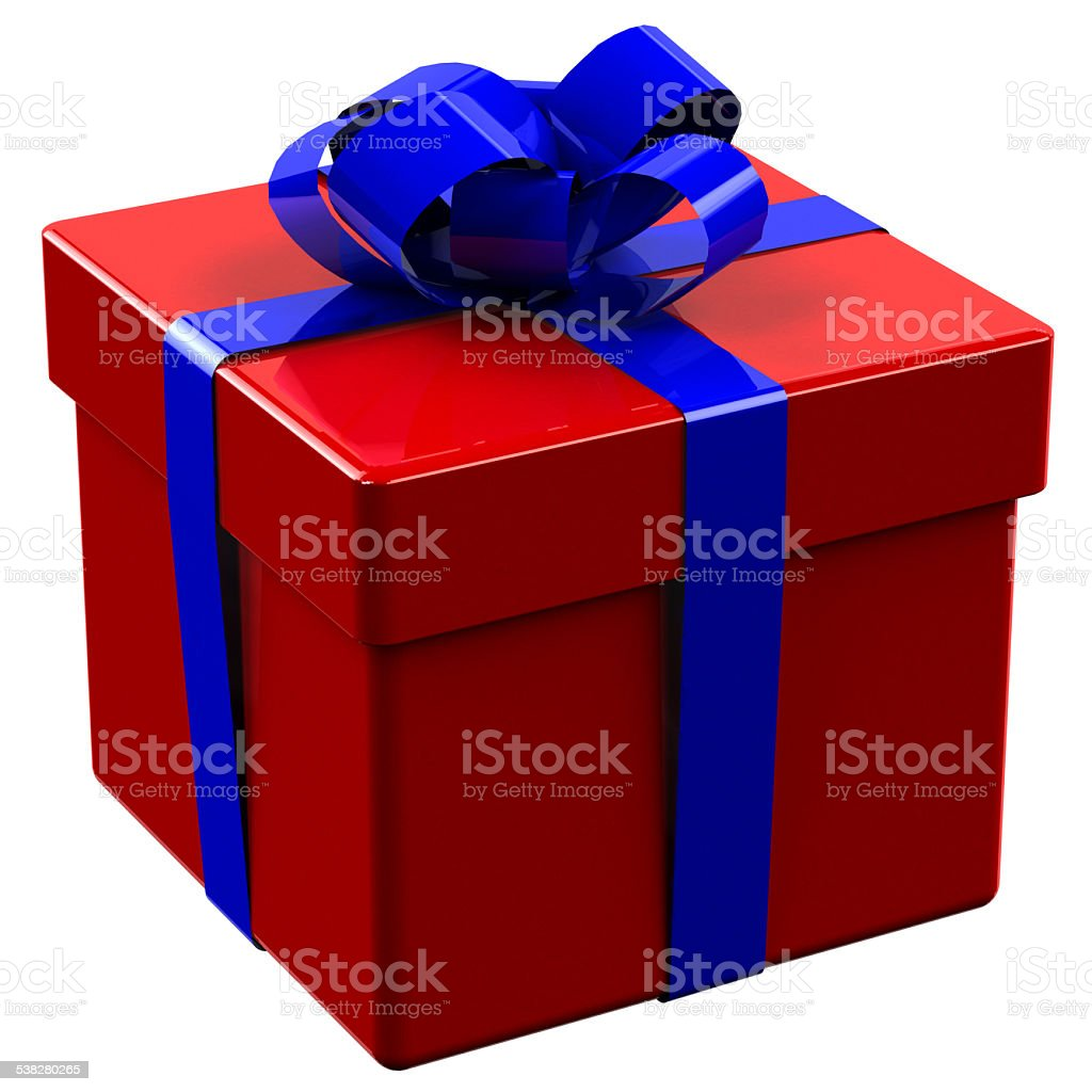 Red gift box tied blue ribbon with a bow stock photo
