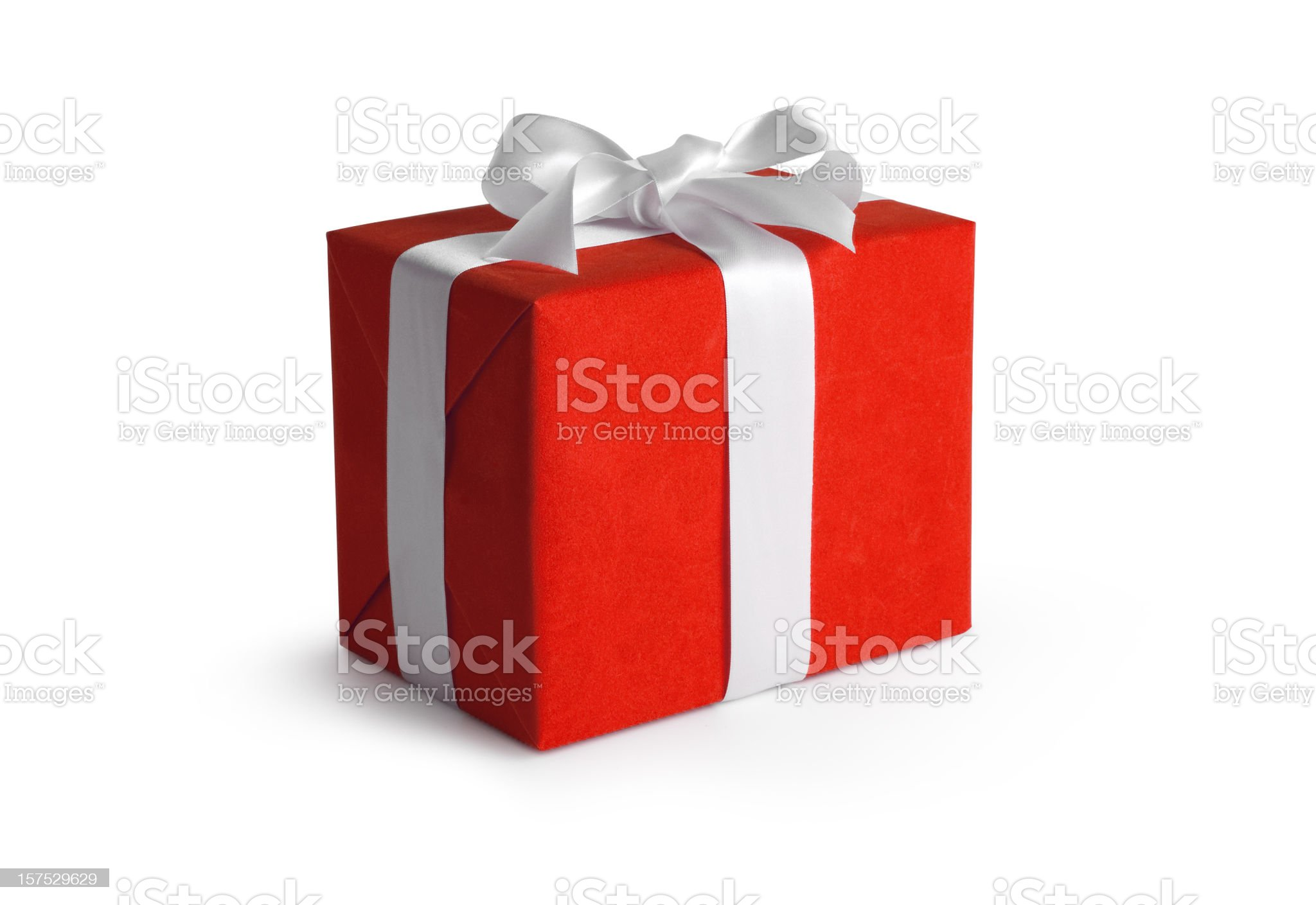 Red Gift Box w/Clipping path royalty-free stock photo