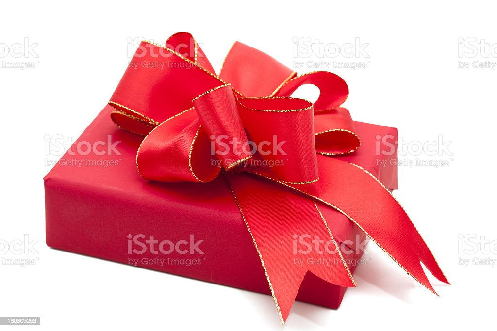 red gift box with bow royalty-free stock photo