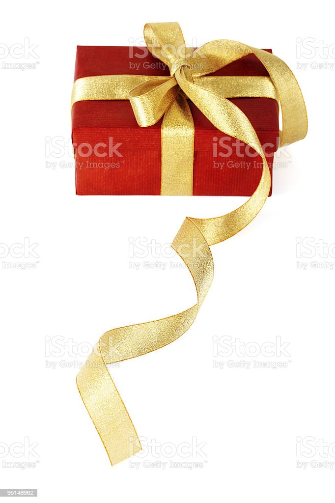 Red gift box with  gold bow on  white background stock photo