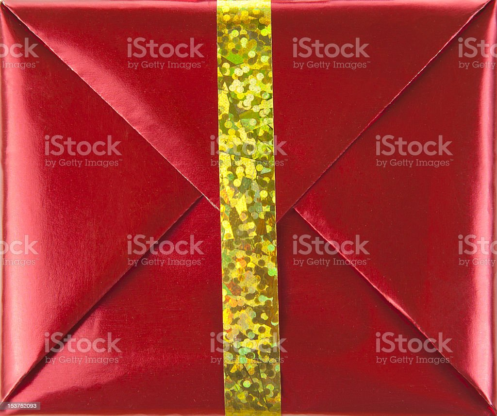 Red gift box with gold ribbon royalty-free stock photo