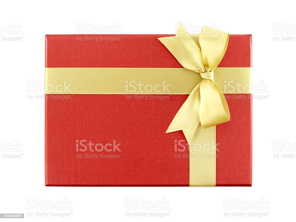 red gift box with golden ribbon bow stock photo