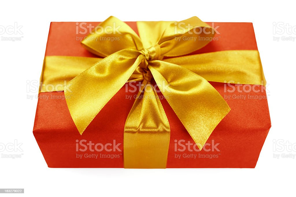 Red gift box with golden ribbon royalty-free stock photo