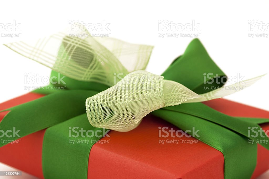 red gift box with green bow royalty-free stock photo