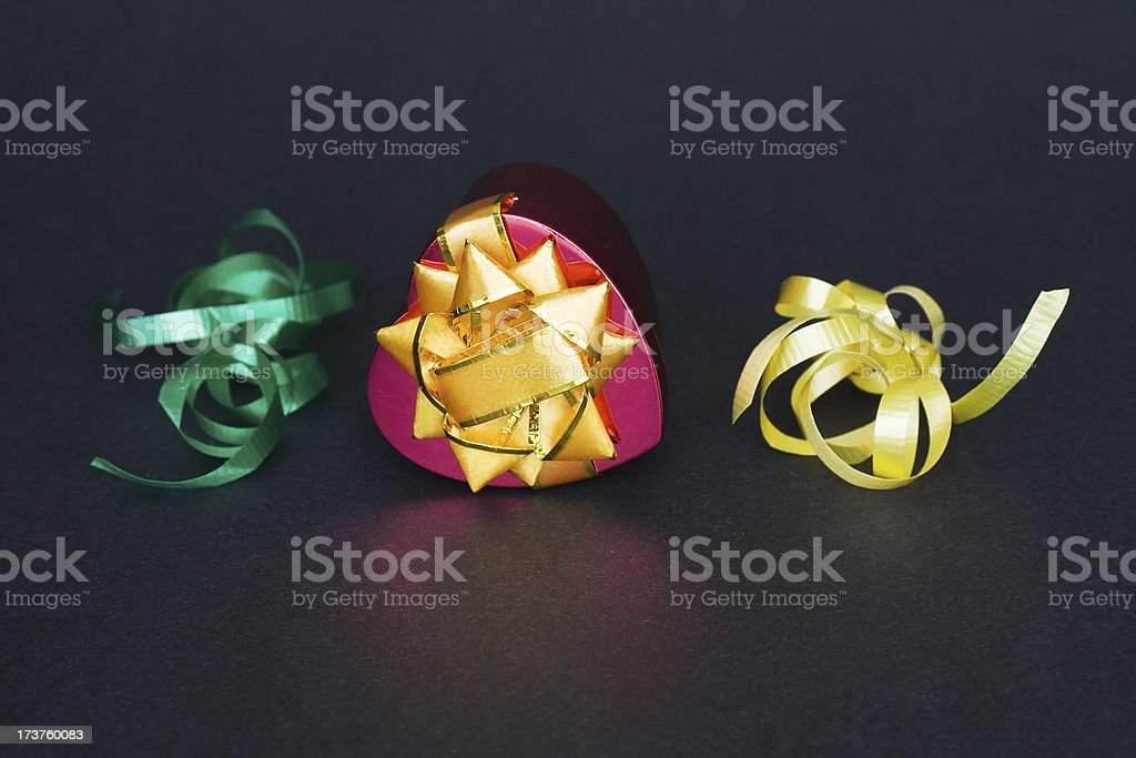 Red gift box with ribbons royalty-free stock photo