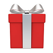 Red gift box with silver ribbon bow