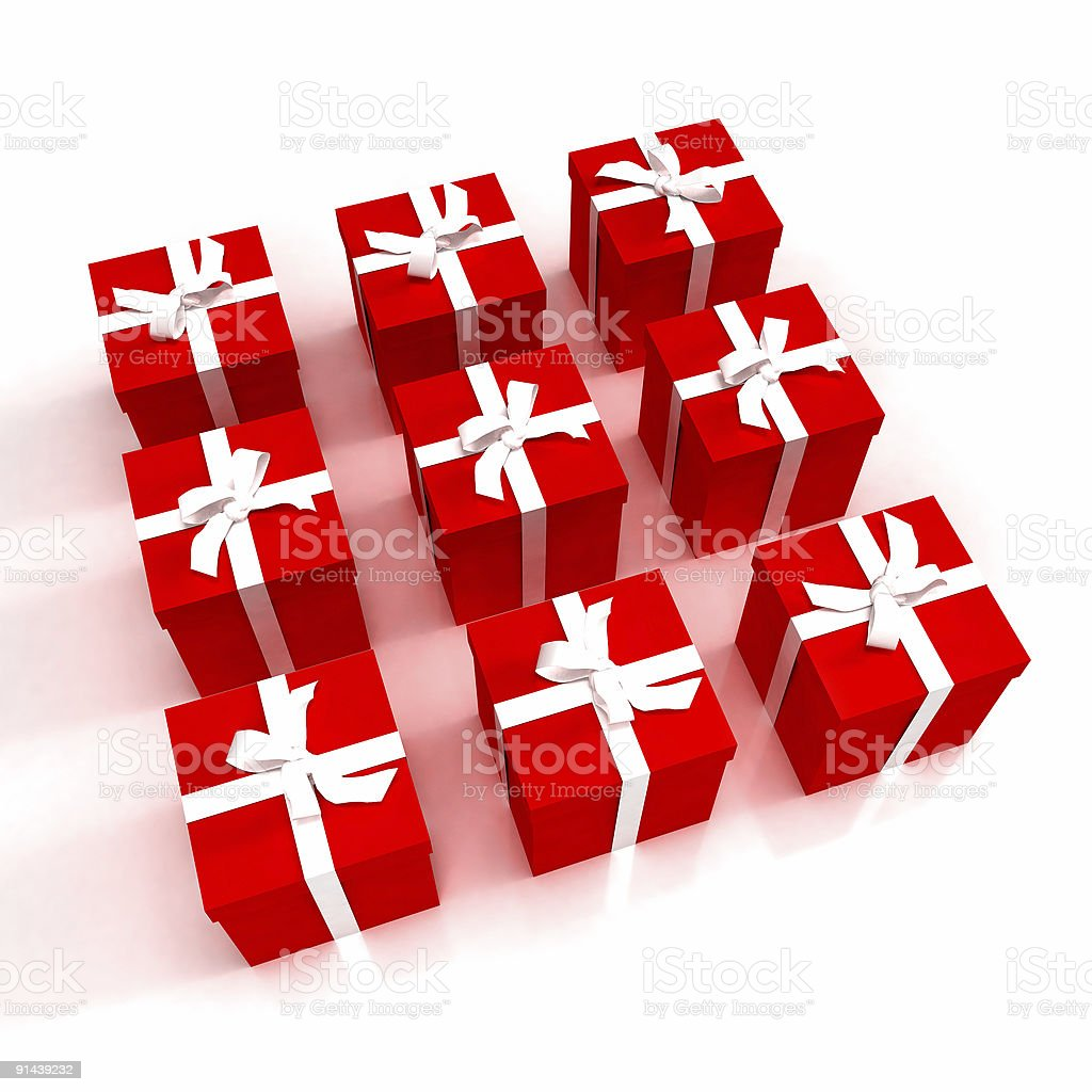 Red gift boxes neatly arranged royalty-free stock photo