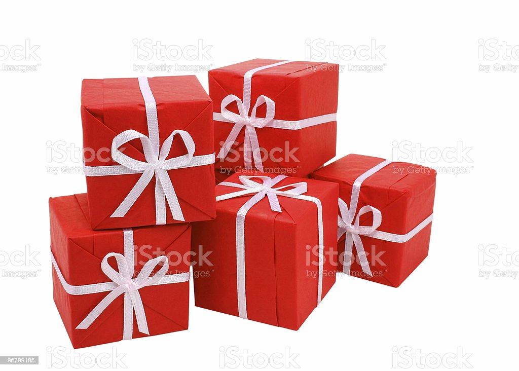 Red gift boxes on white background (clipping path included) royalty-free stock photo