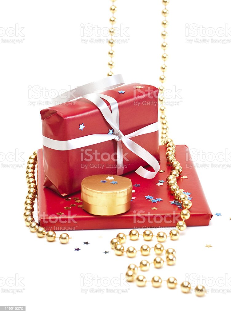 Red gift boxes. stock photo