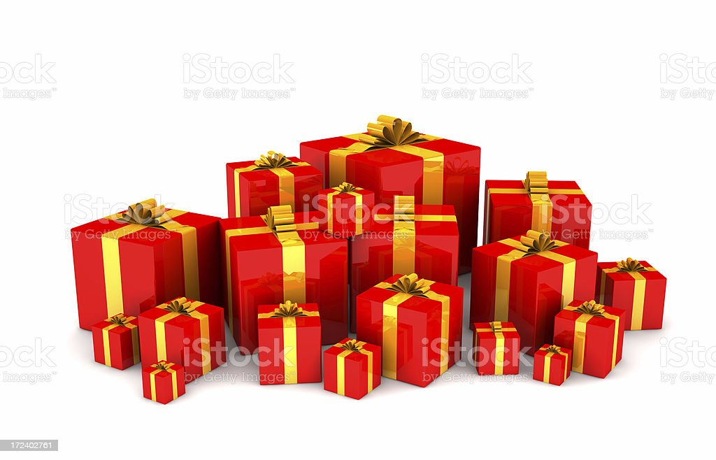 Red Gift Boxes royalty-free stock photo