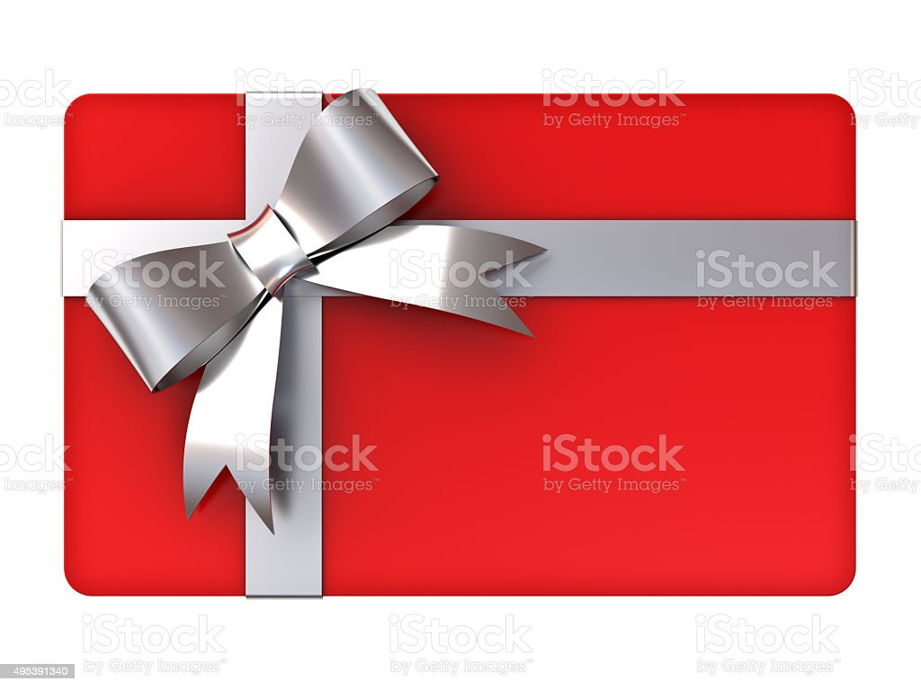 Red gift card with silver ribbons and bow stock photo