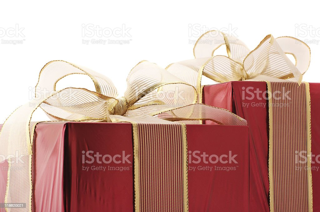 Red gift close-up stock photo
