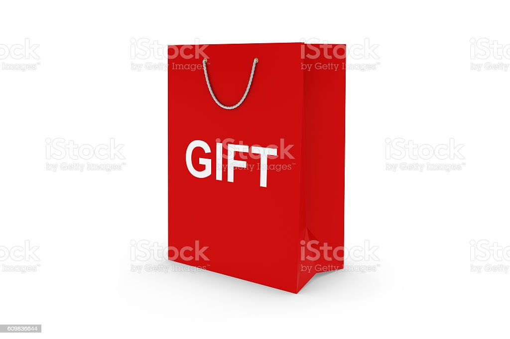 Red GIFT Paper Shopping Bag Isolated on White stock photo