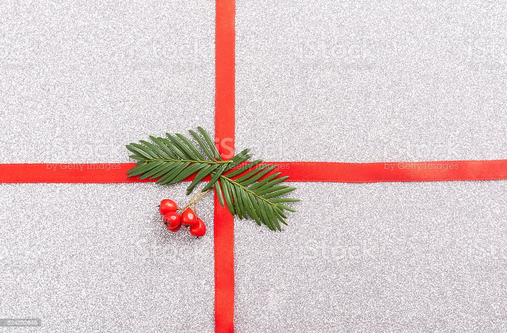 red gift ribbon bow stock photo