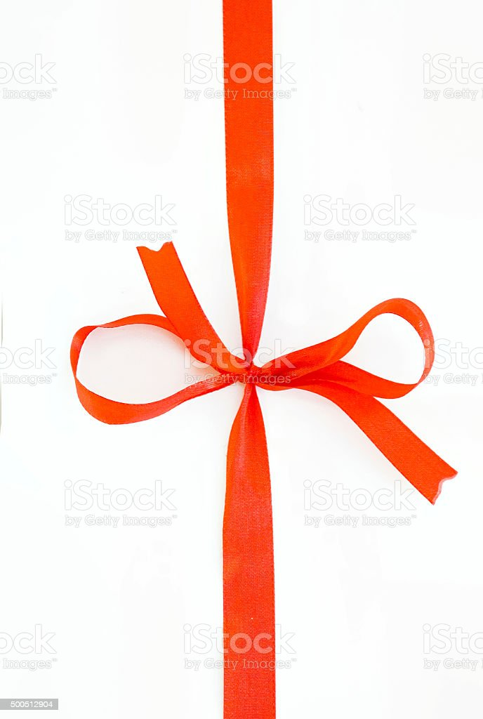 red gift ribbon with bow for cropping stock photo