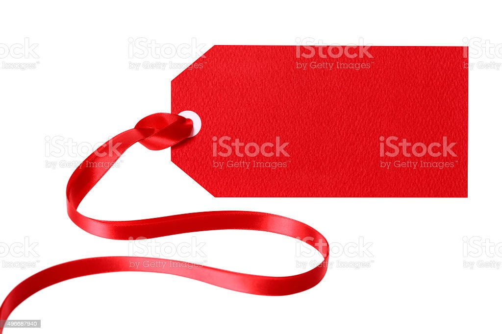 Red gift tag or label with ribbon isolated on white stock photo