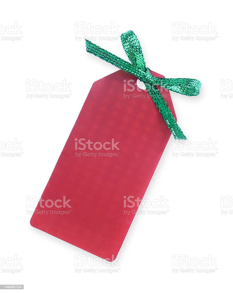 red gift tag with green sparkling bow royalty-free stock photo