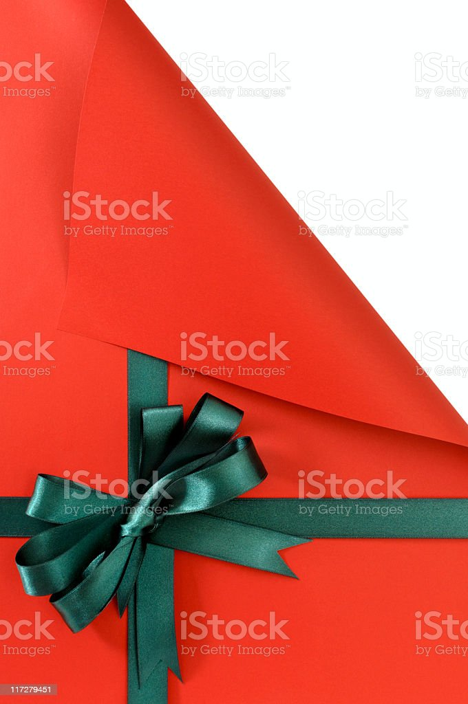 Red gift with curled corner royalty-free stock photo