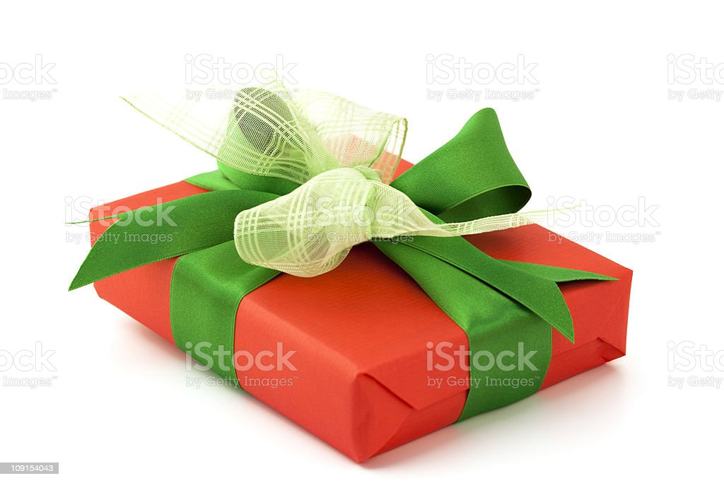 red gift with green bow royalty-free stock photo