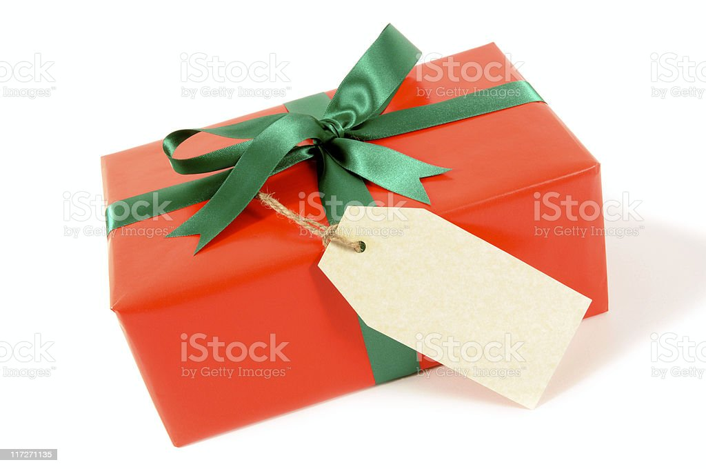 Red gift with label royalty-free stock photo