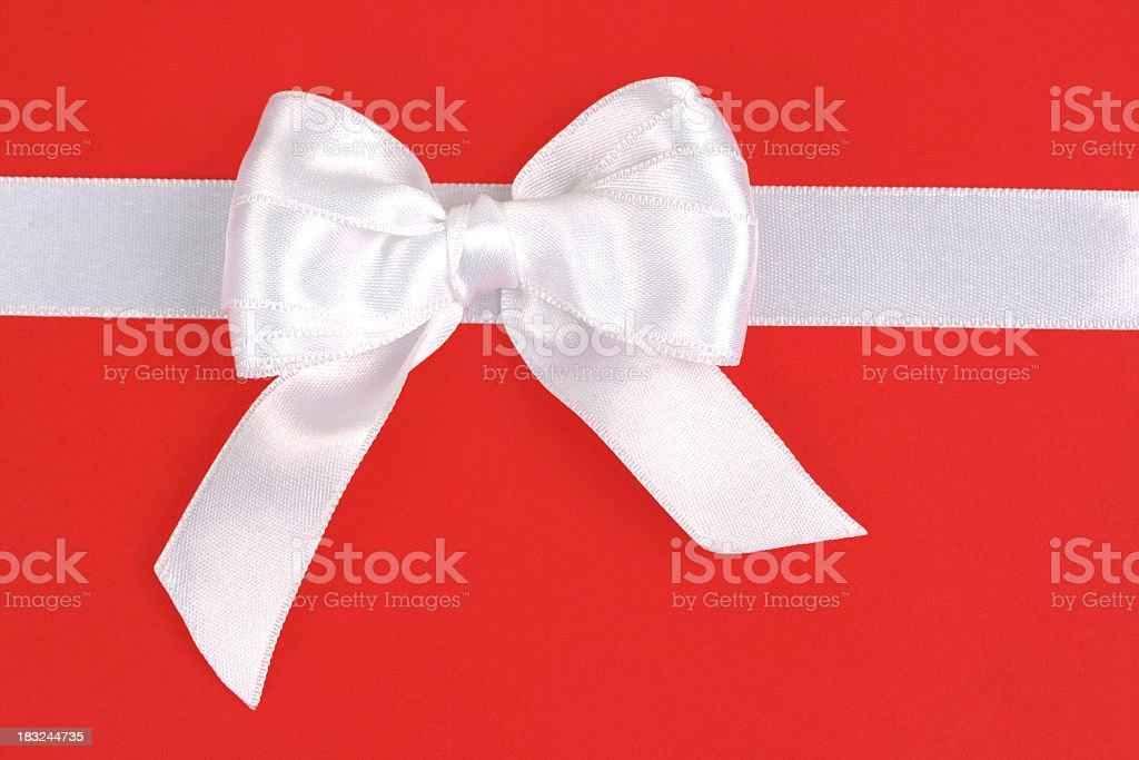 Red gift with white bow royalty-free stock photo