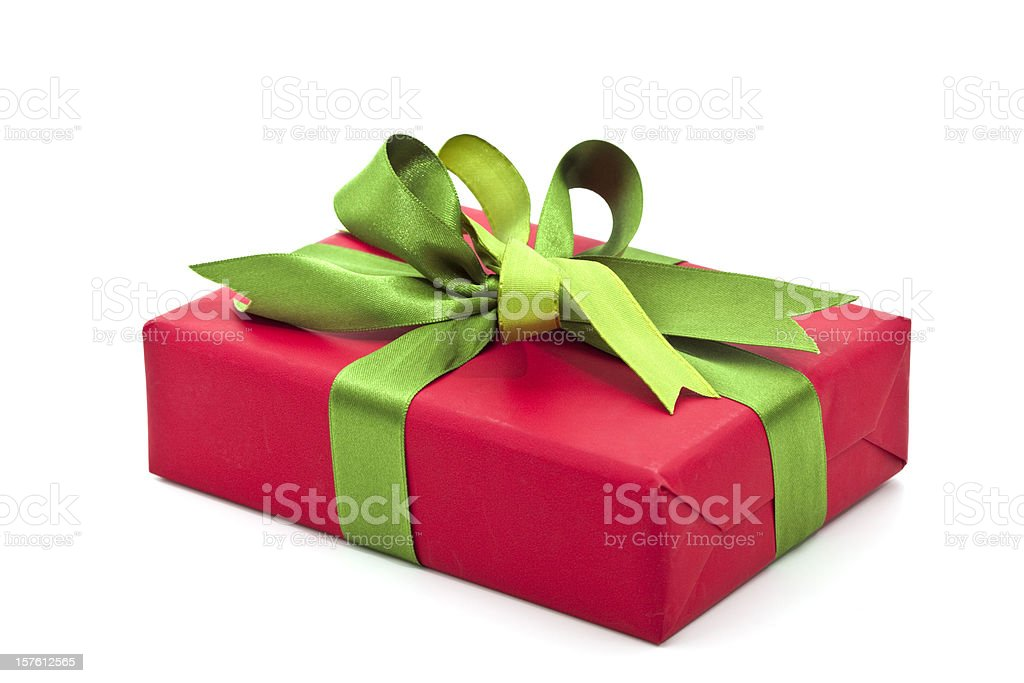red giftbox with green bow royalty-free stock photo