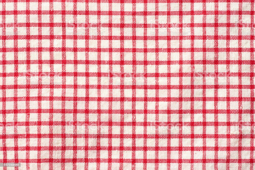 Red gingham check Close-up stock photo
