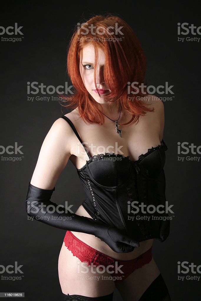 Red girl in red panties royalty-free stock photo