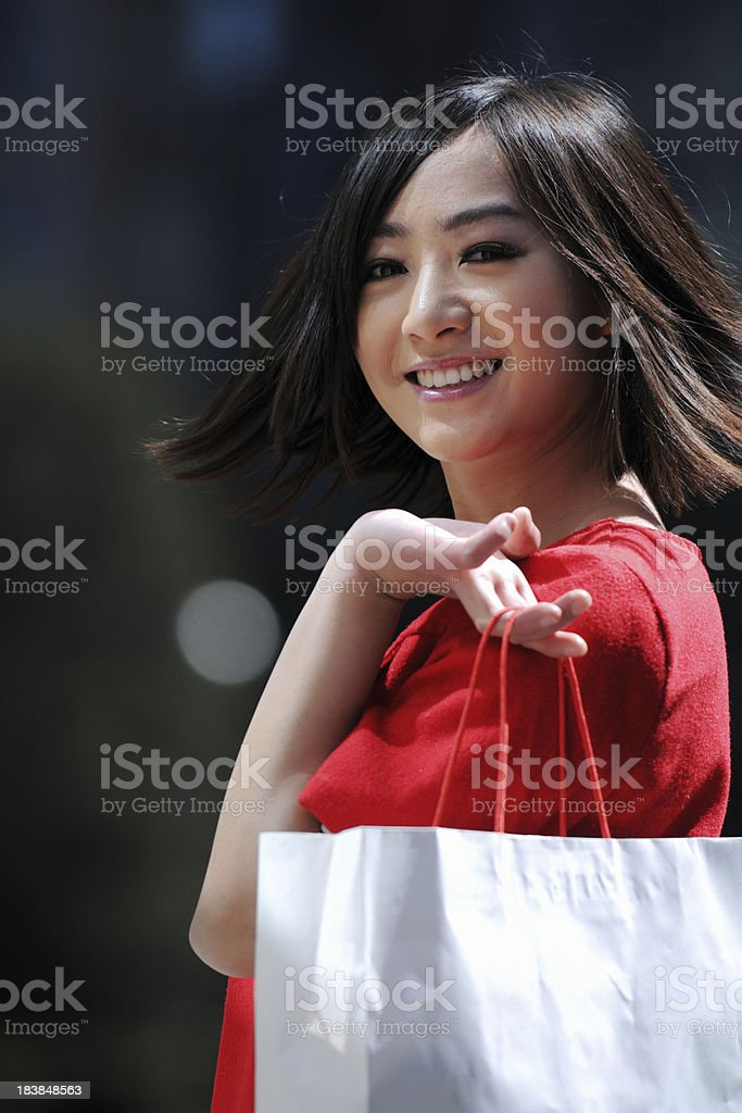 Red Girl Looking Over Shoulder - XLarge royalty-free stock photo