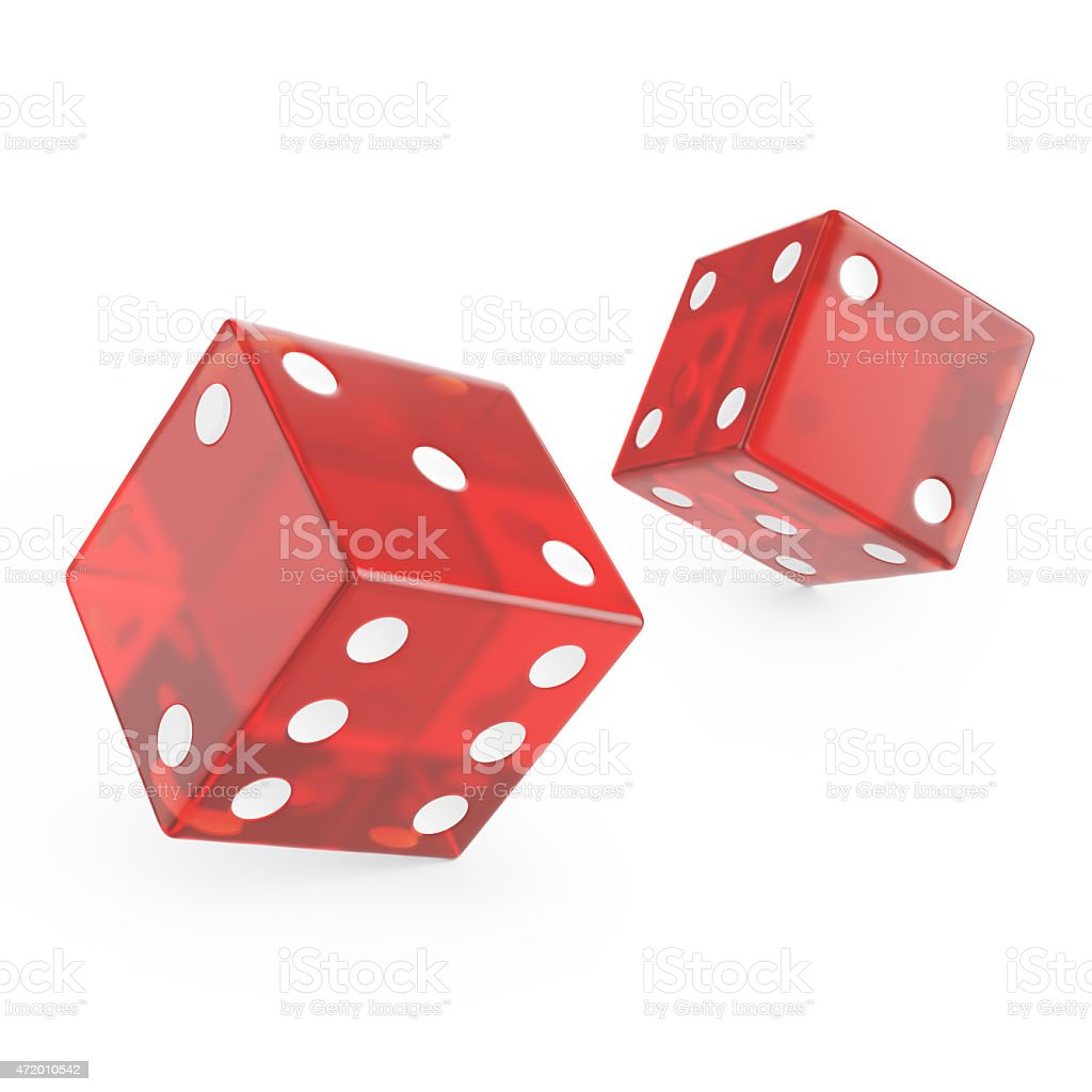 red glass dice stock photo