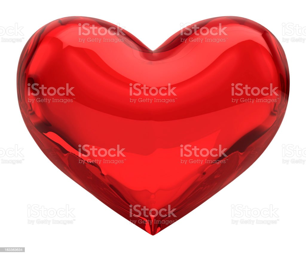 Red Glass Heart, Valentine/Love Concept (XXXL-41MPx) FREE Alpha Channel royalty-free stock photo