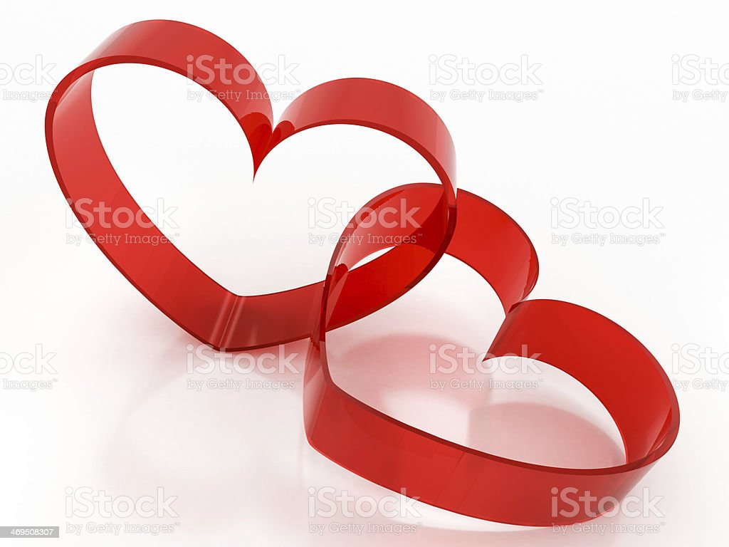 red glass heart-shaped royalty-free stock photo