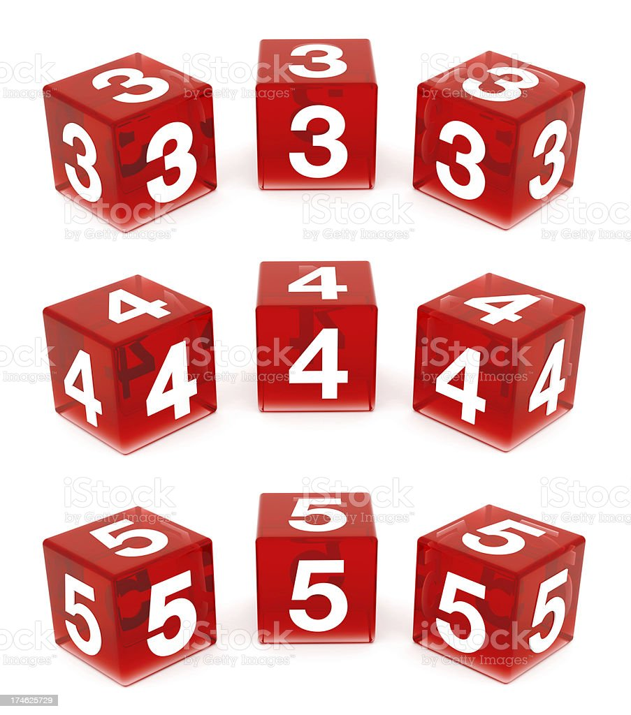 3D Red Glass Numbers : 3,4 & 5 royalty-free stock photo