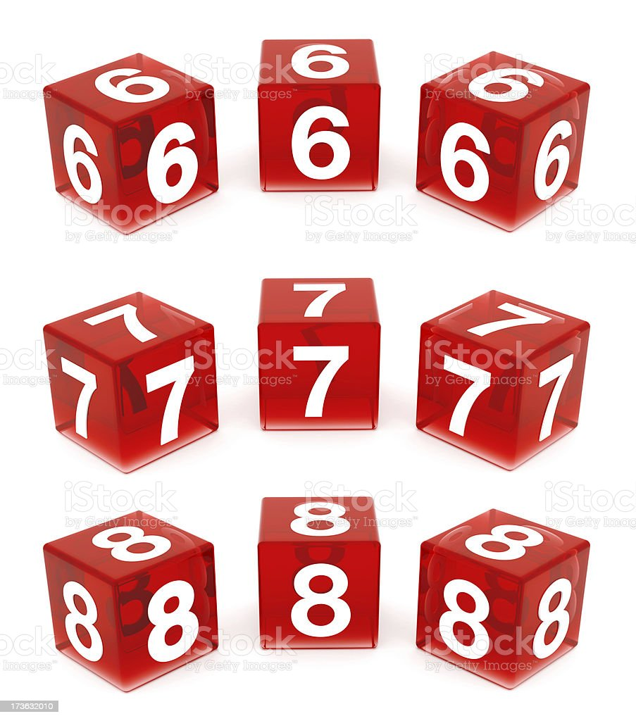 3D Red Glass Numbers : 6,7 & 8 royalty-free stock photo