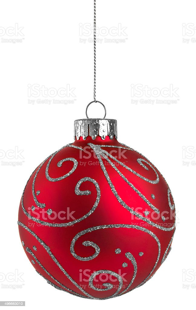 Red Glitter Christmas Ball stock photo