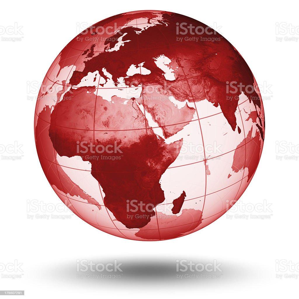 Red  Globe - European Eastern Hemisphere stock photo