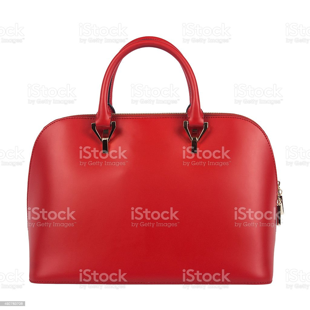 Red glossy female leather bag isolated stock photo