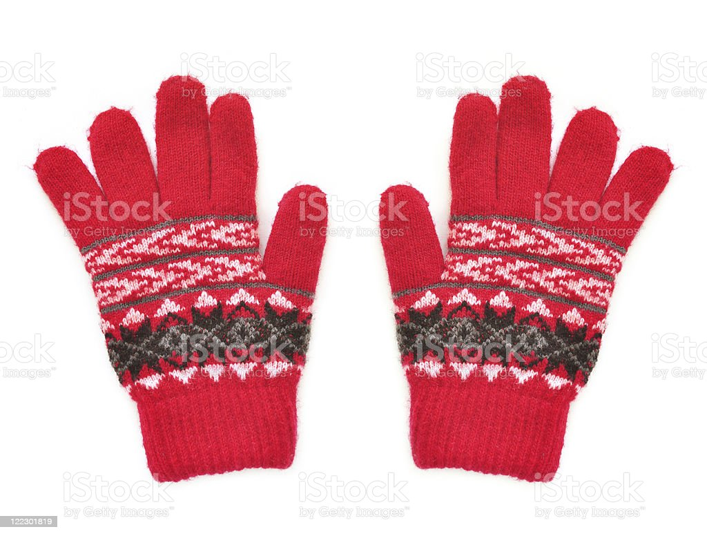 Red gloves for winter stock photo