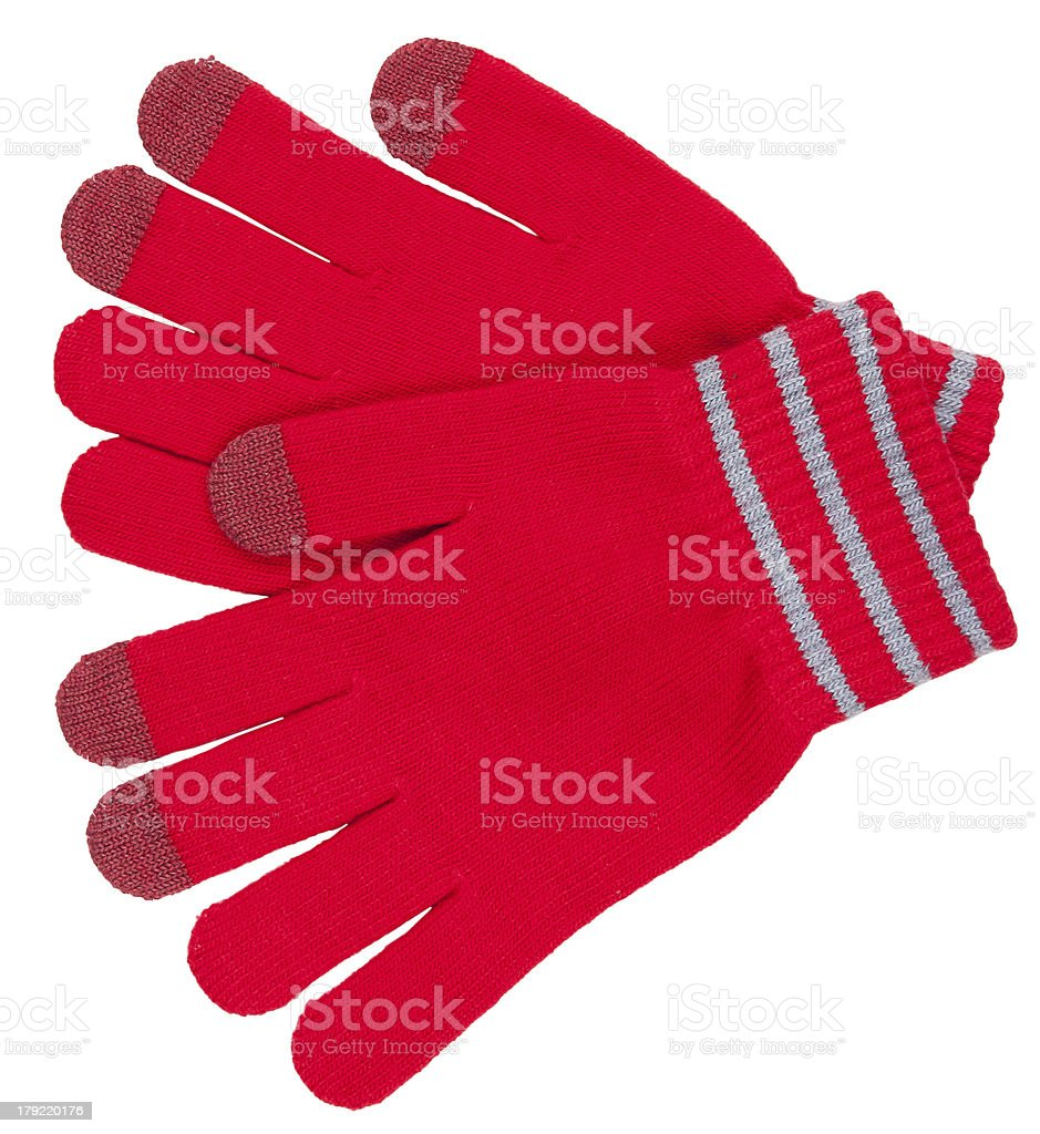 Red gloves with stripes royalty-free stock photo