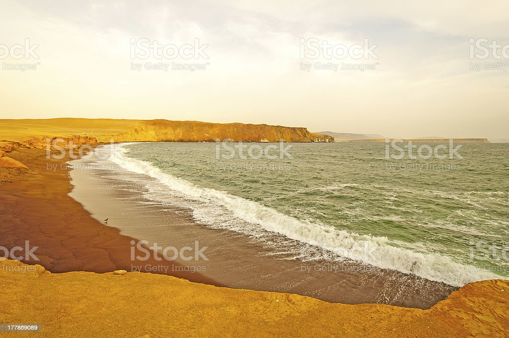 Red Glow of Sunset on the coast stock photo