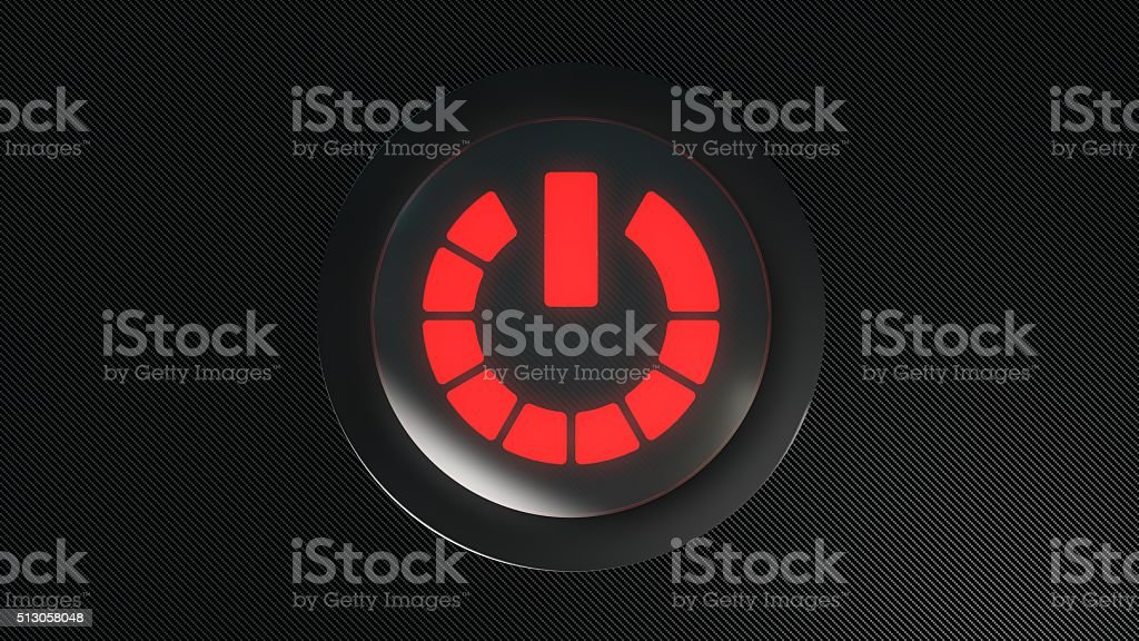 red glowing power icon button stock photo