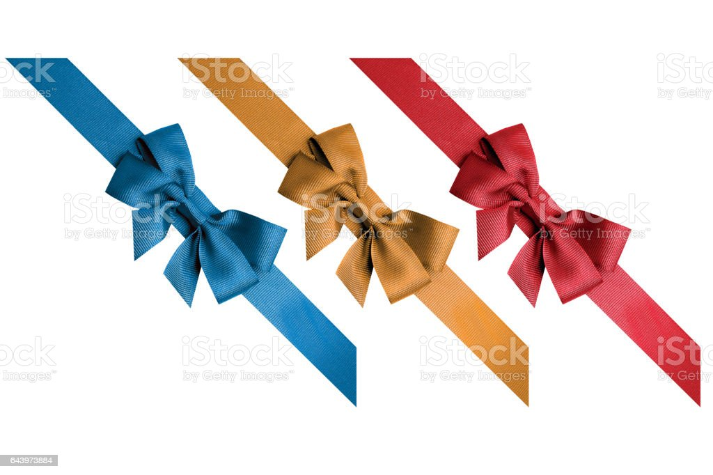 Red, gold, blue ribbons stock photo