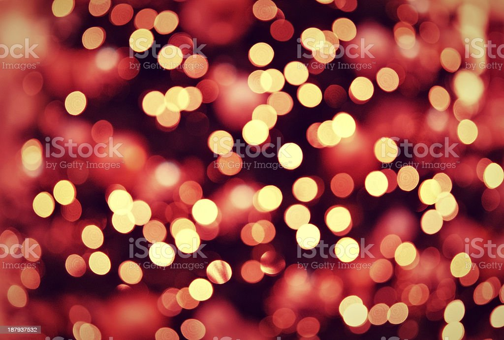 red golden Christmas lights background with bokeh royalty-free stock photo