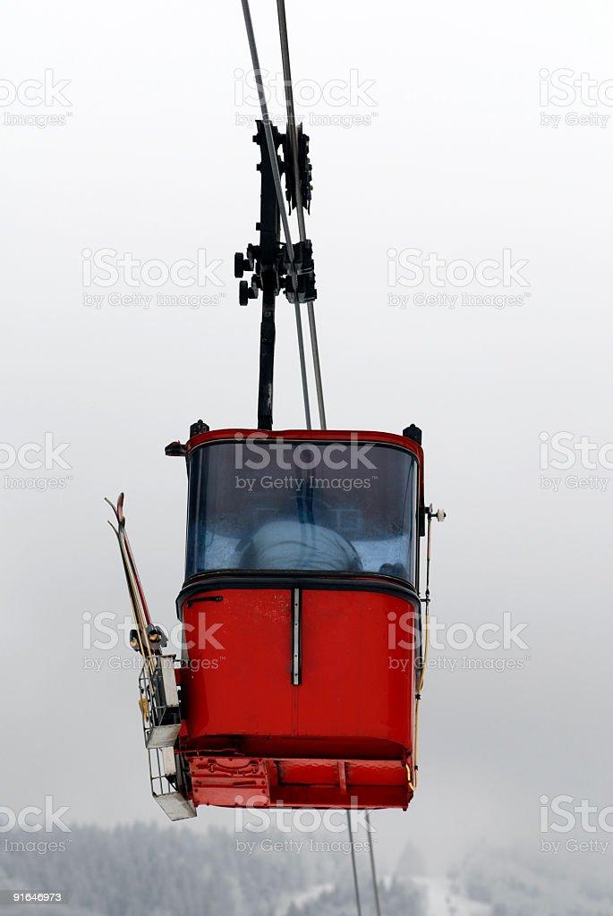 Red gondola on winter background royalty-free stock photo