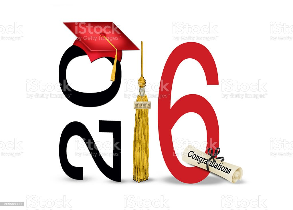 red graduation cap with 2016 gold tassel stock photo
