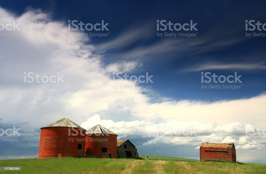 Red Granaries royalty-free stock photo