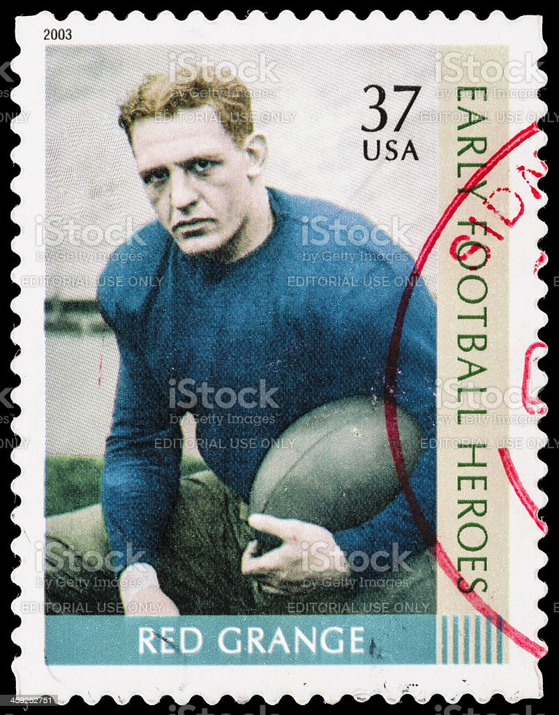 US Red Grange postage stamp stock photo
