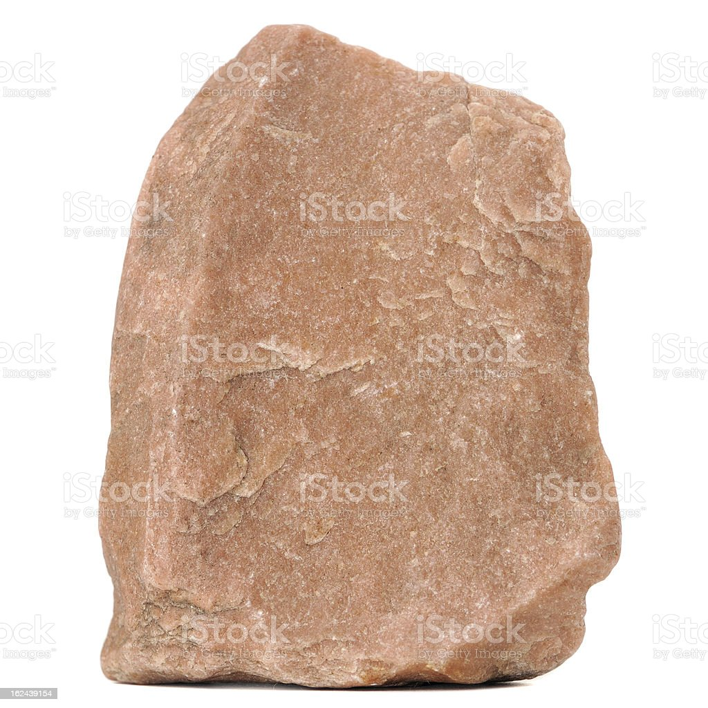 Red Granite Stone Isolated on White Background stock photo