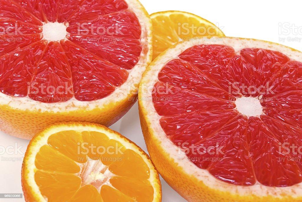 Red grapefruits and mandarines stock photo