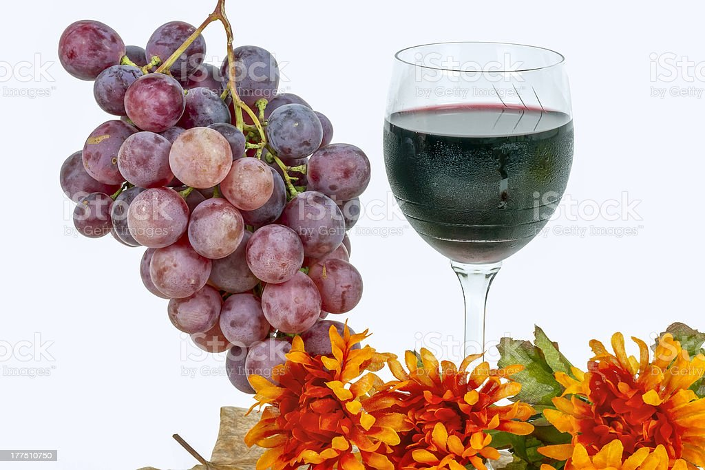 red grapes with a glass of wine royalty-free stock photo